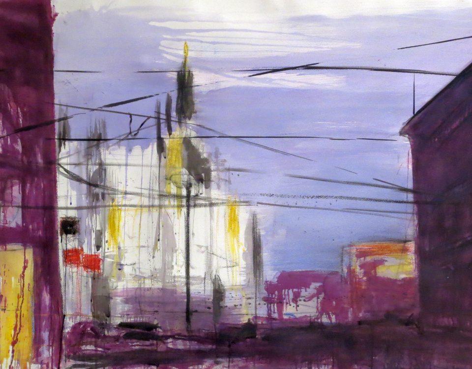 Duomo Viola, 100x170cm, tecnica mista su carta