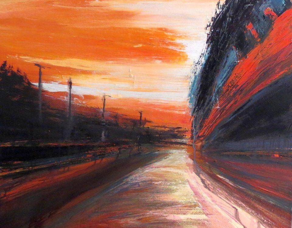 Tangenziale Rossa, 70x80cm, olio su tela