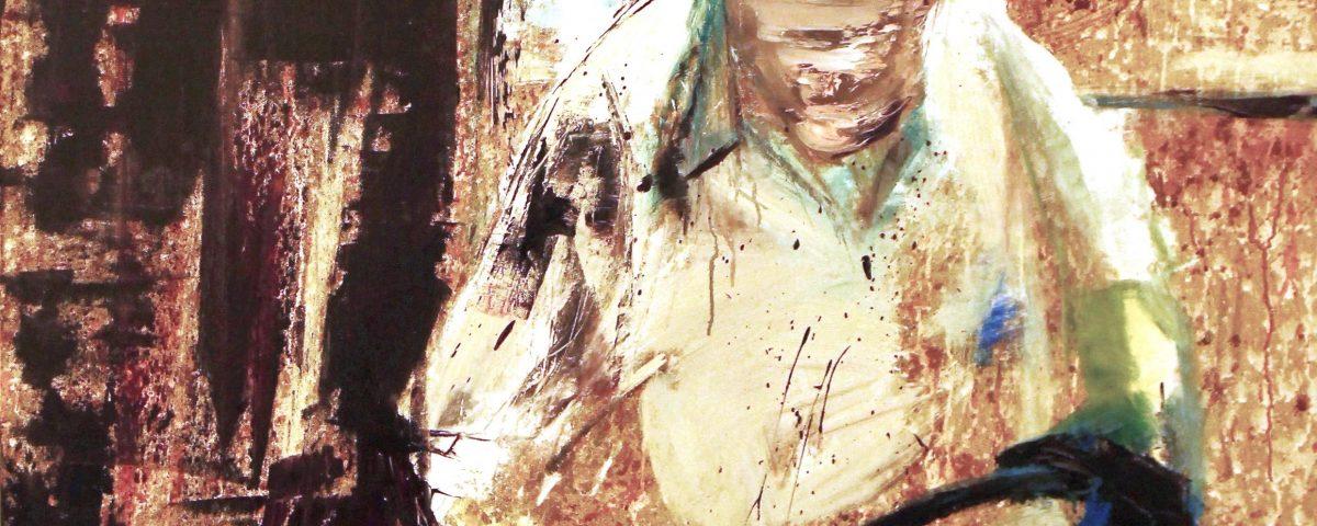 Verniciatore, 100x100cm, olio su tela