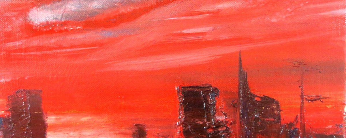 Rossa sera, 24x30cm, olio su tela
