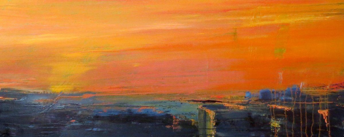 Milano dall'alto, 60x200, olio su tela