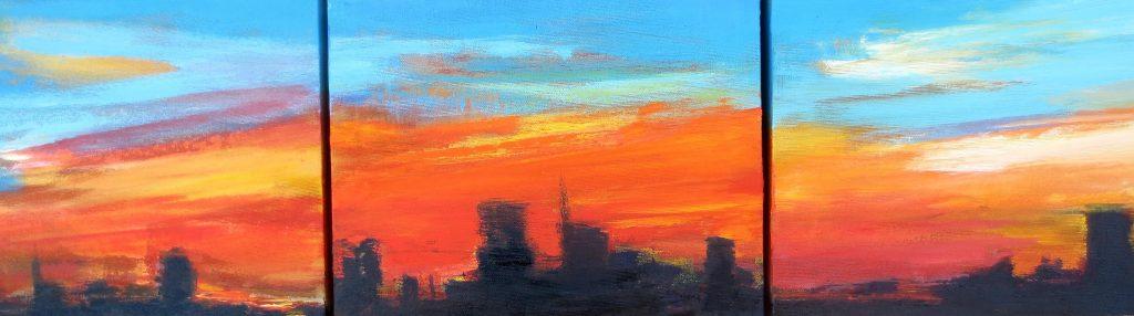 Skyline trittico, 25x90, olio su tela