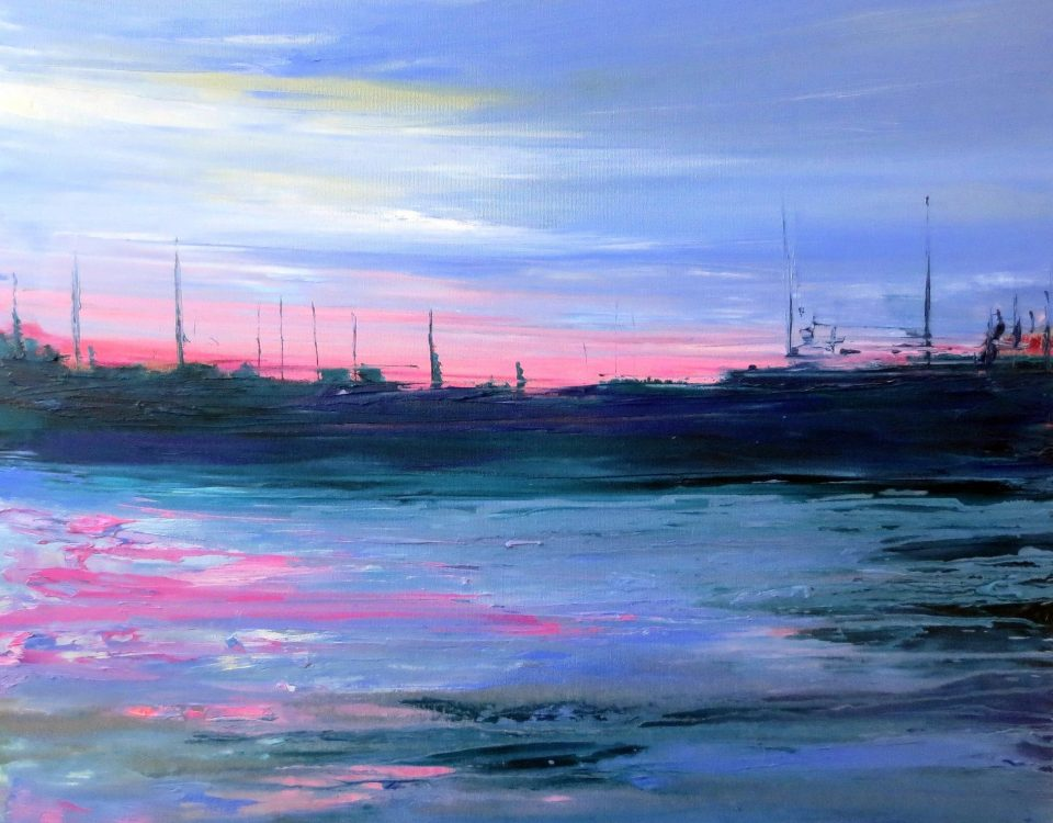Tramonto rosa, 70x80cm, olio su tela