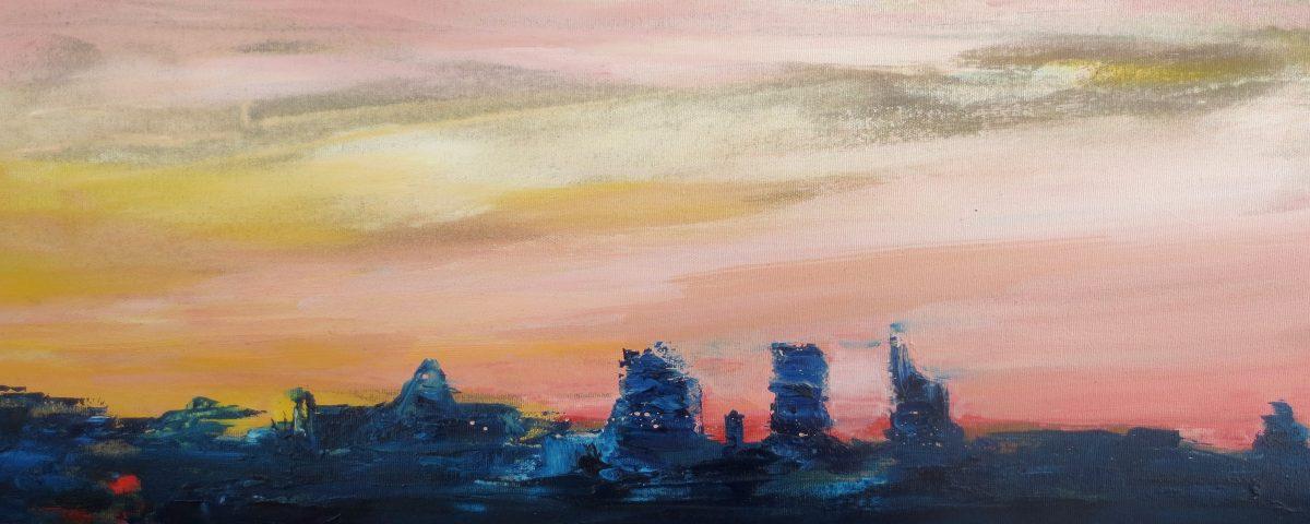 Skyline, 30x80cm, olio su tela