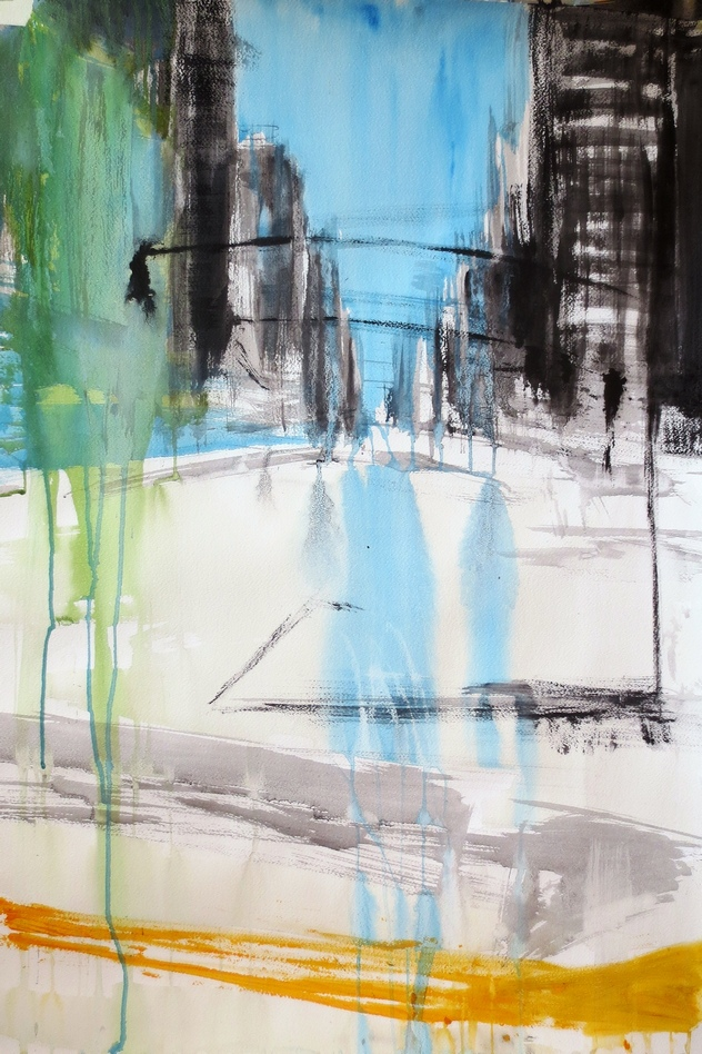 New York yellow stripes, 100x70cm, mixed media on paper