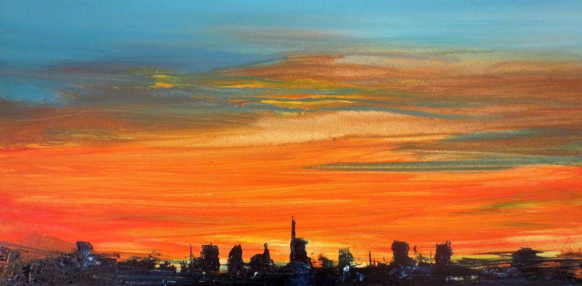 2016 skyline 30x60cm olio su tela - Francesco Zavatta