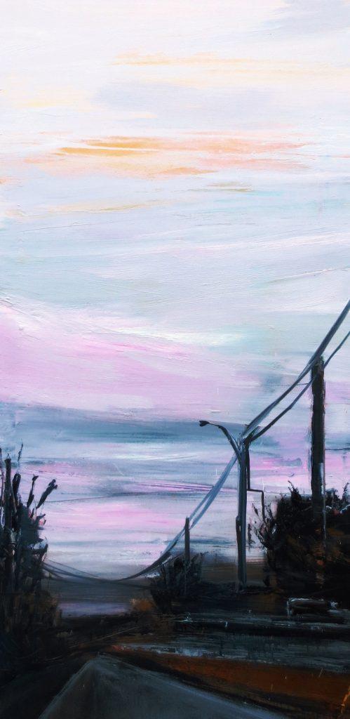 Cielo rosa 120x60cm olio su tela