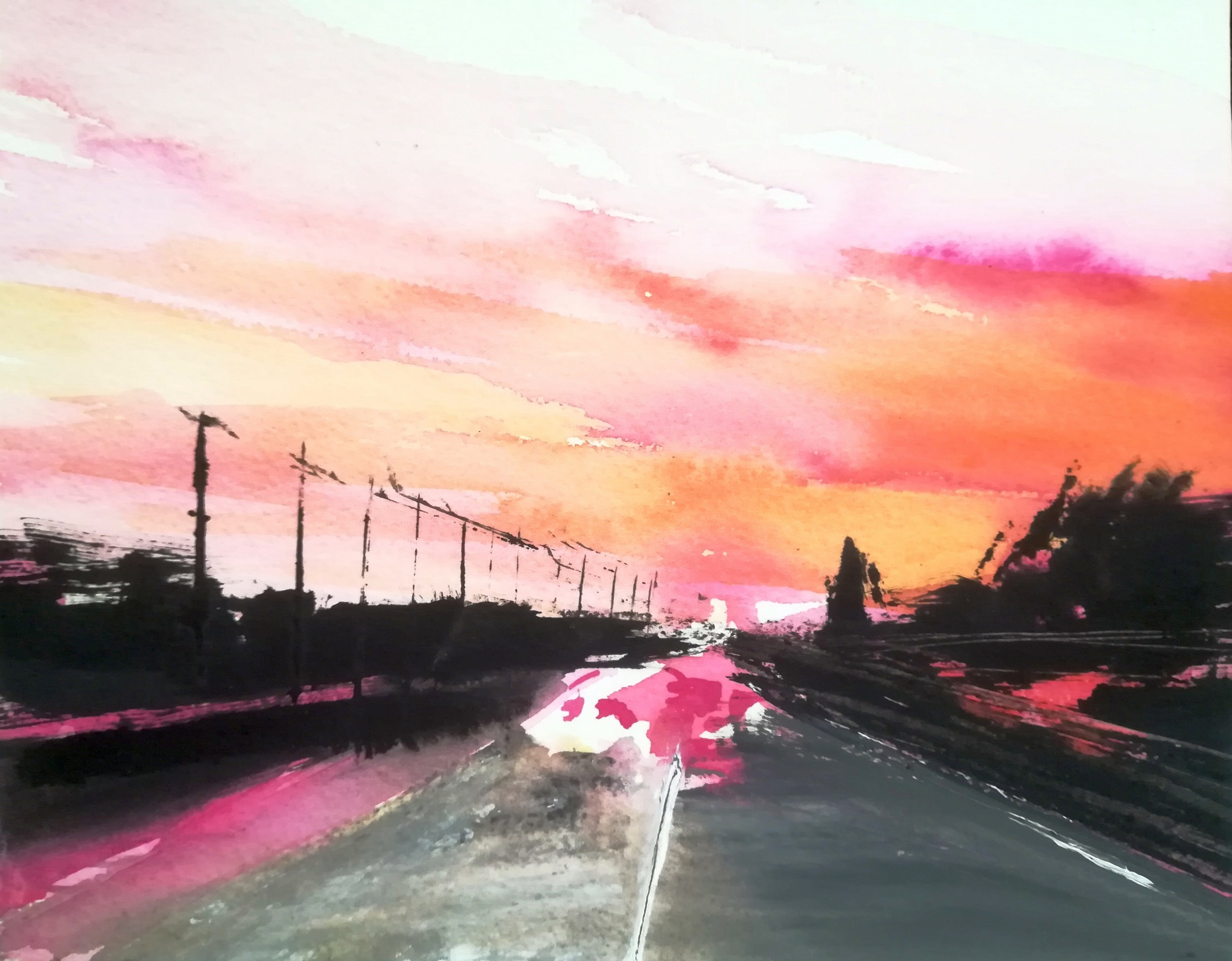 2017-Tramonto-rosa18x23cm-mixed media on paper