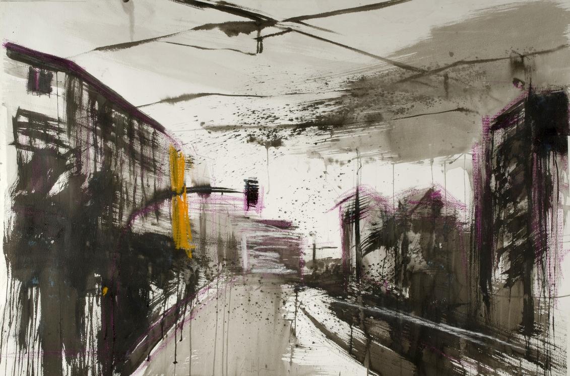 2012 Via Andrea Costa 90x140cm Francesco Zavatta mixed-media-on-paper