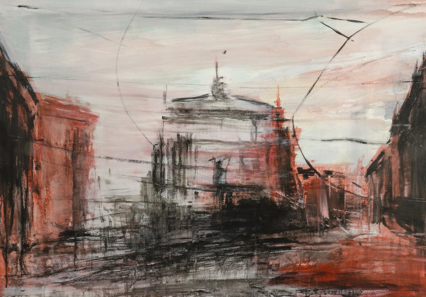 2017 Via Dante 80x114cm mixed-media-on-paper