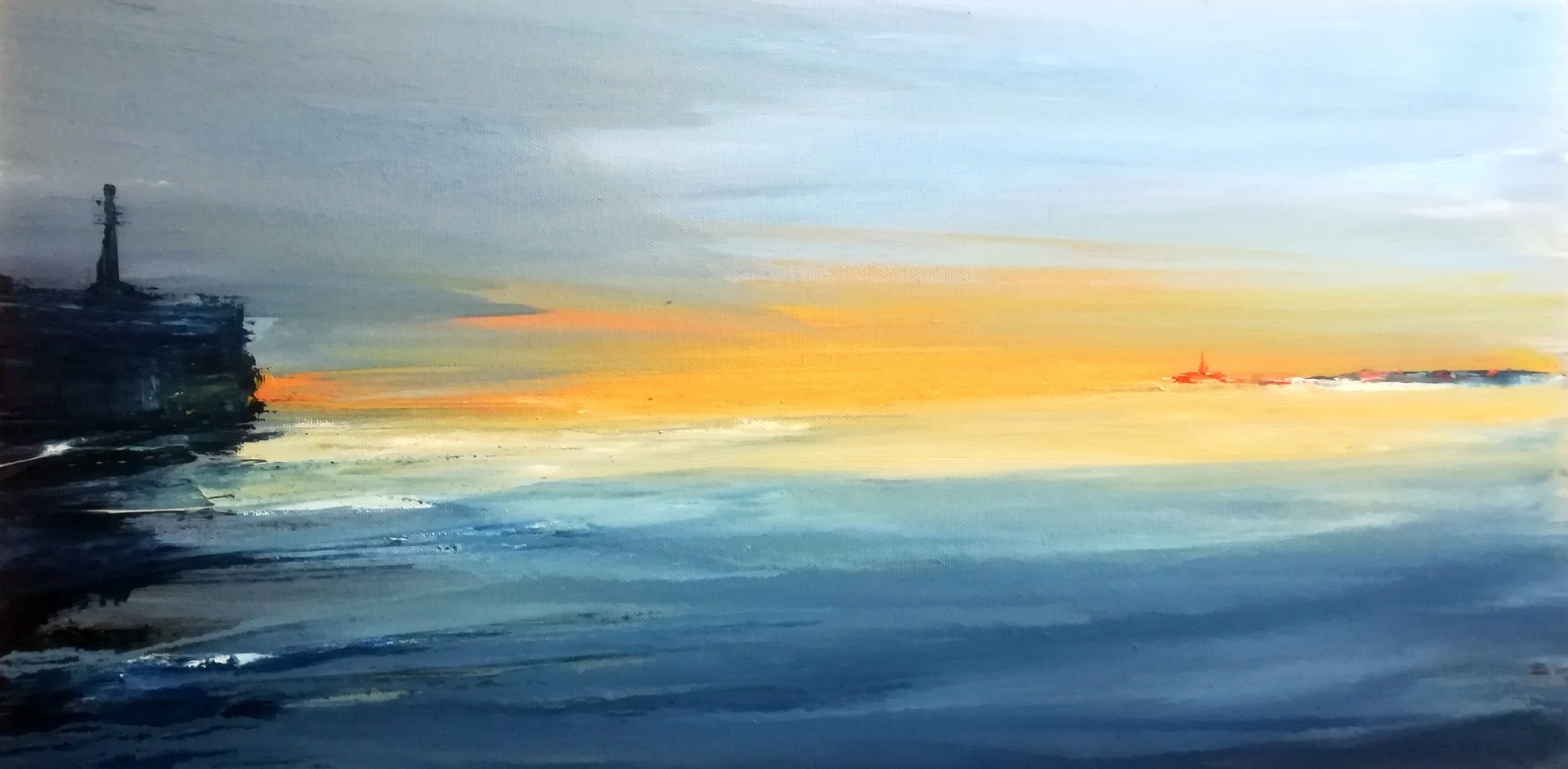 Francesco-Zavatta-2018 Tramonto sul porto 30x60cm oil on canvas