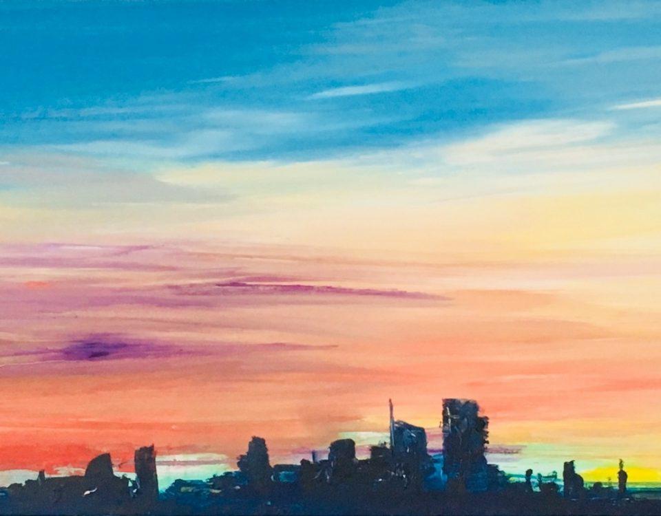 Francesco Zavatta 2017 Skyline Milano Unicredit 60x200cm olio su tela