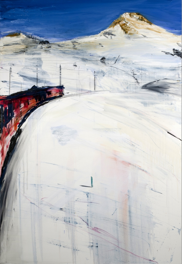 Francesco Zavatta 2018 Bernina Express 190x130cm oil on canvas