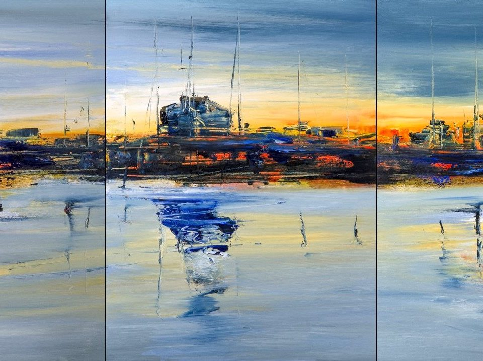 2018 Rimini 52,5x115,5cm trittico olio su tela