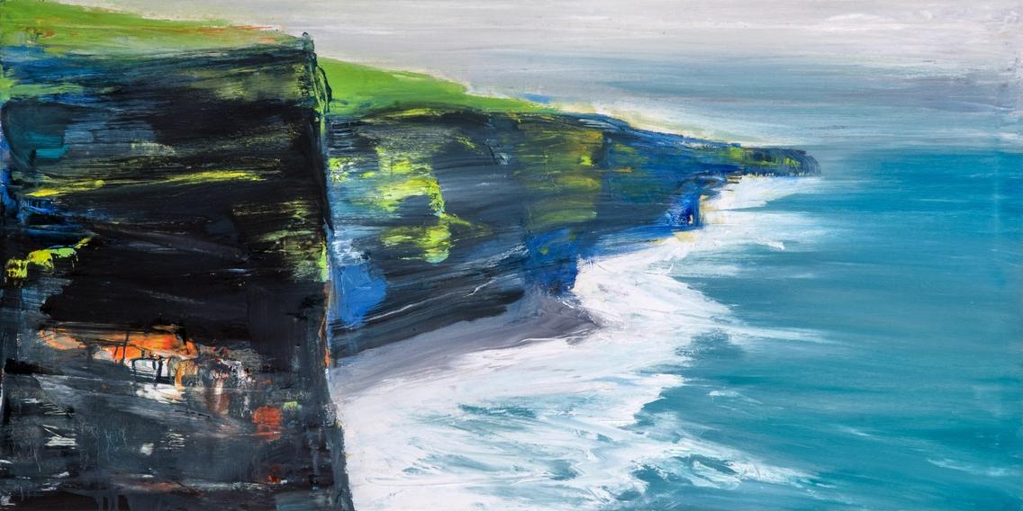 2018 cliff 50x100cm olio su tela