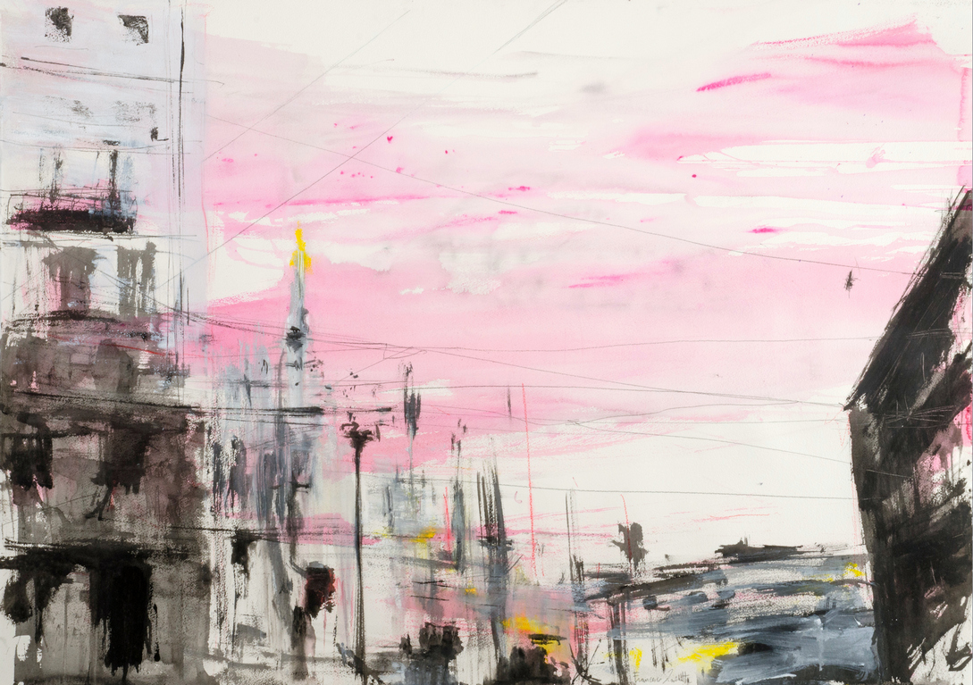 2017 Piazza Duomo 80x114cm mixed-media-on-paper