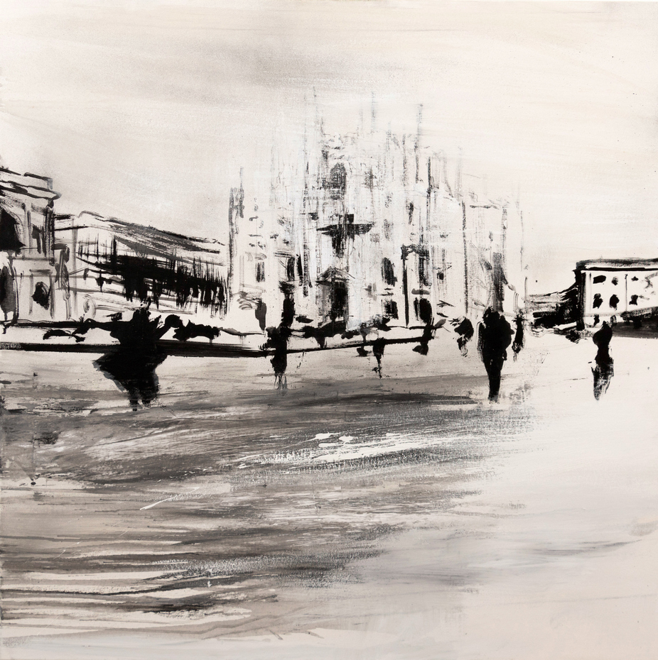2019 Piazza Duomo 100x100cm mixed-media-on-canvas