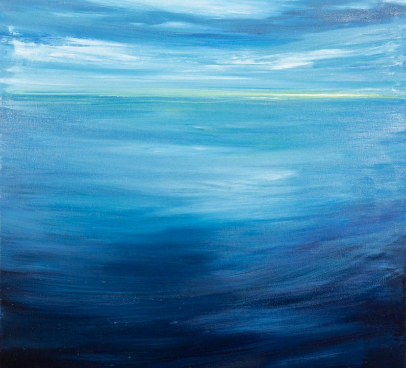 2019 Oceano calmo 80x80cm olio su tela