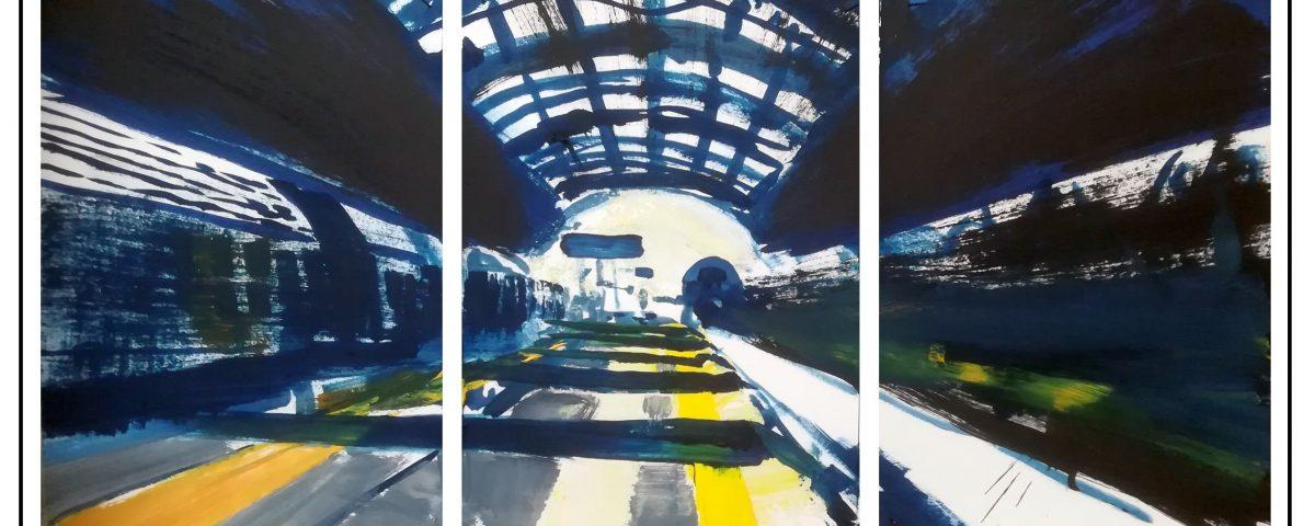 2019 trittico Stazione Centrale 31x69cm olio su carta