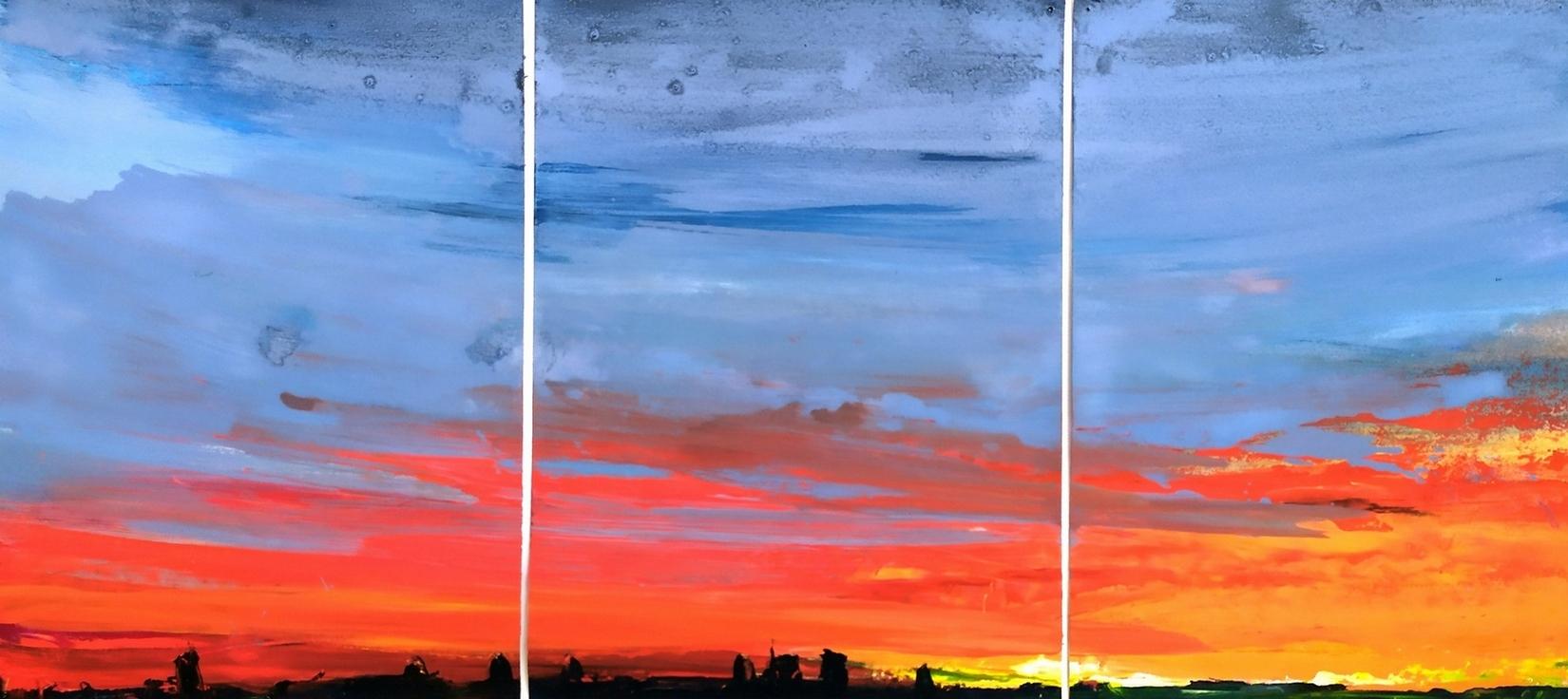 2019 Skyline olio su carta trittico 31X69cm 1