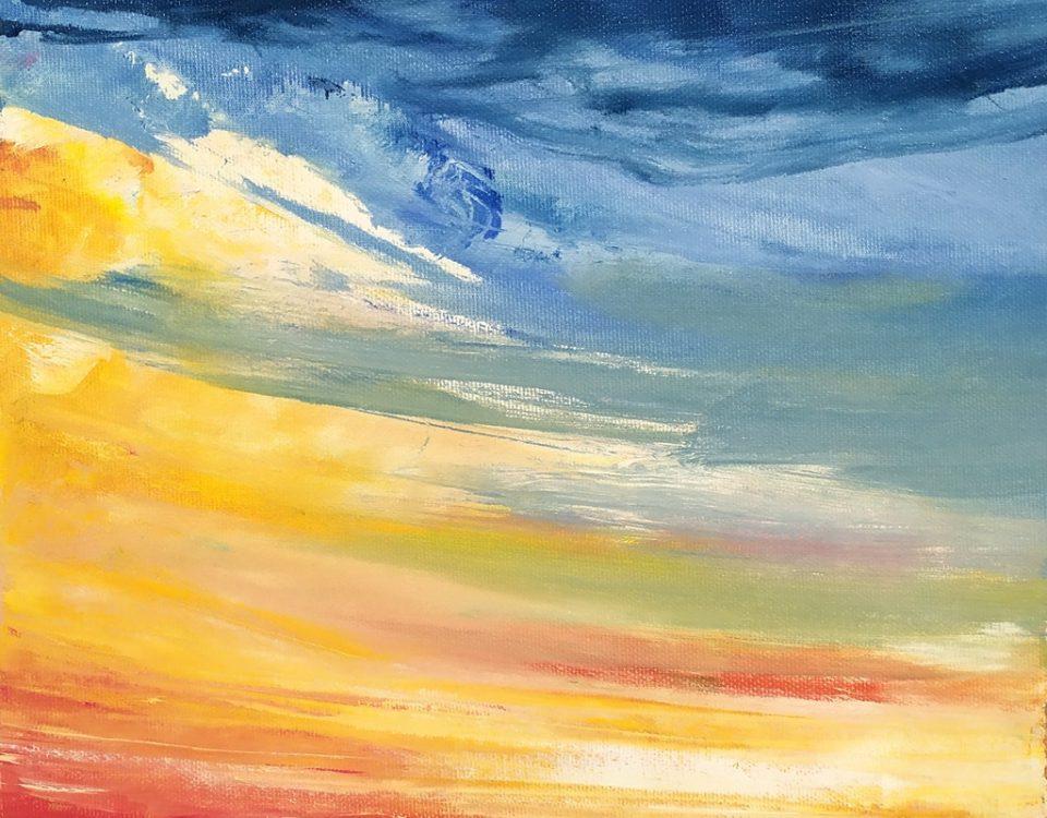 Skyline Milano olio su tela 30x30cm Francesco Zavatta Mi-View