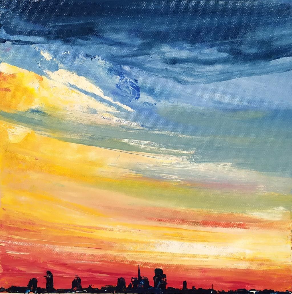 Skyline Milano olio su tela 30x30cm Francesco Zavatta