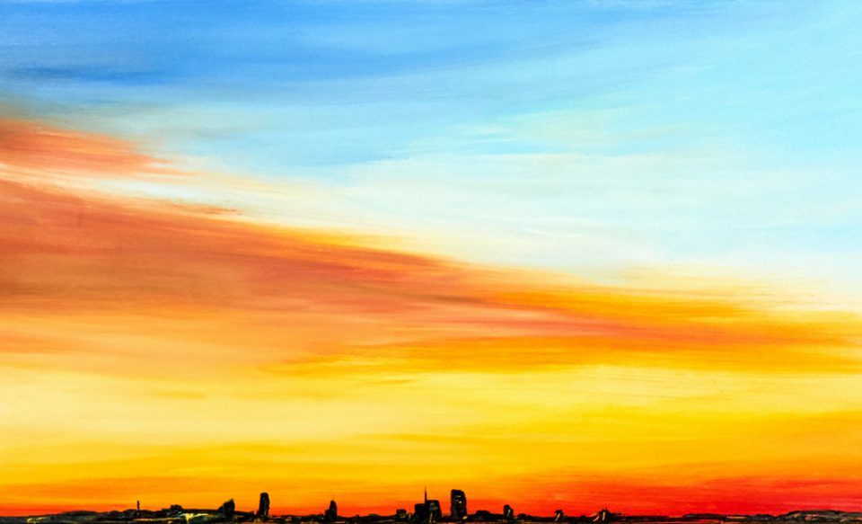 Francesco Zavatta 2019 Skyline Milano 60x200cm olio su tela