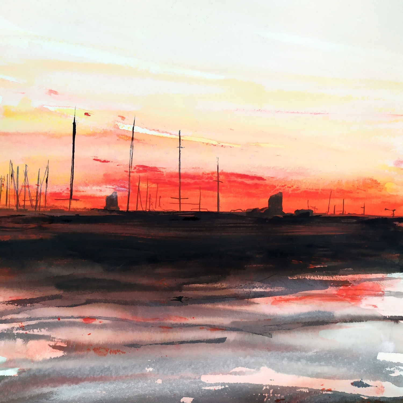 2019 Darsena al tramonto 30x30cm tecnica mista su carta