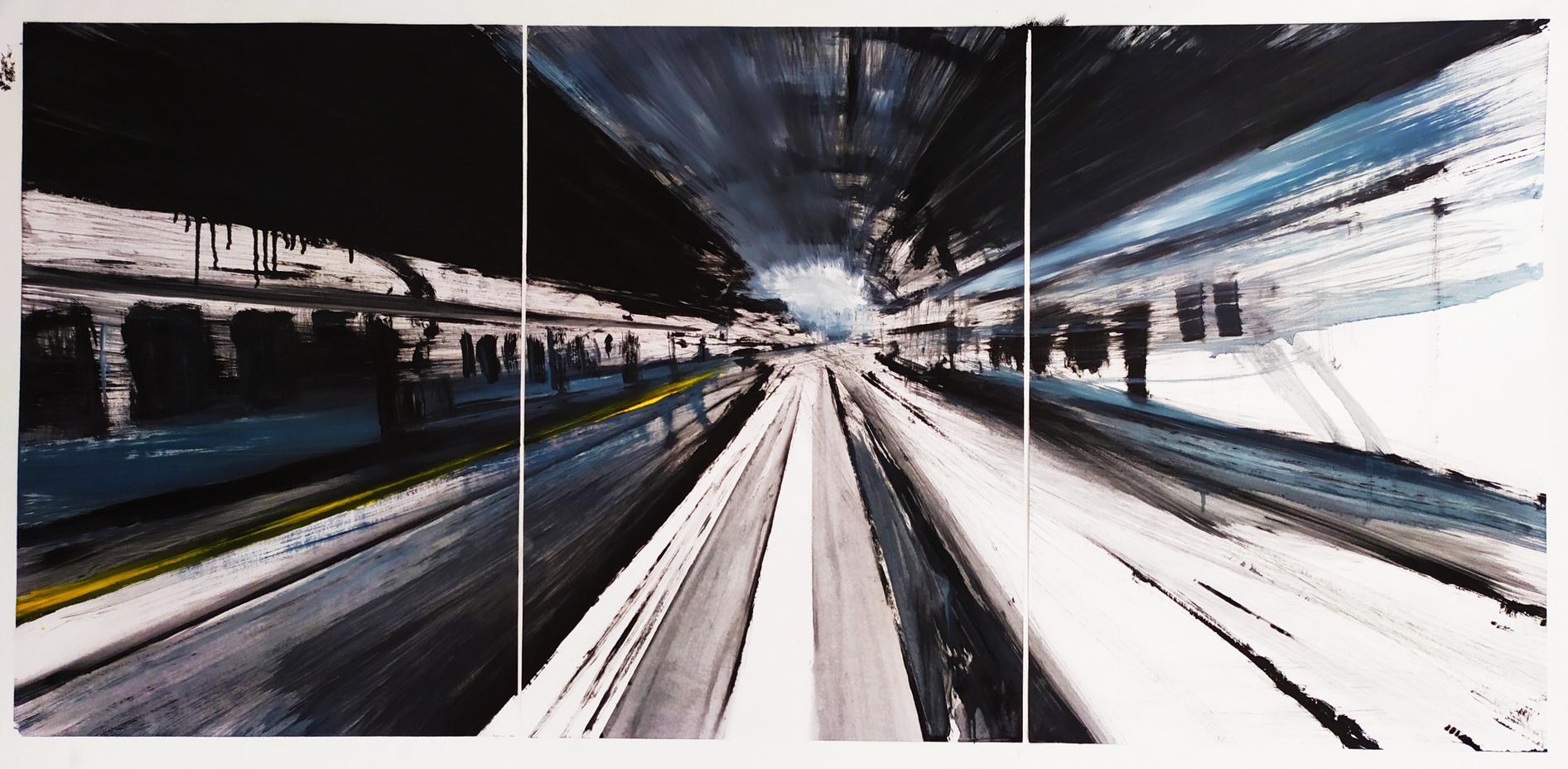 2019 Stazione Centrale trittico 50x105cm olio su carta 2