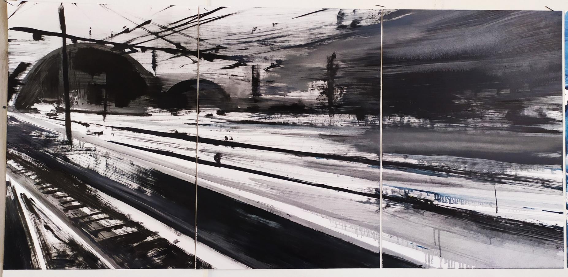 2019 Stazione Centrale trittico 50x105cm olio su carta 5