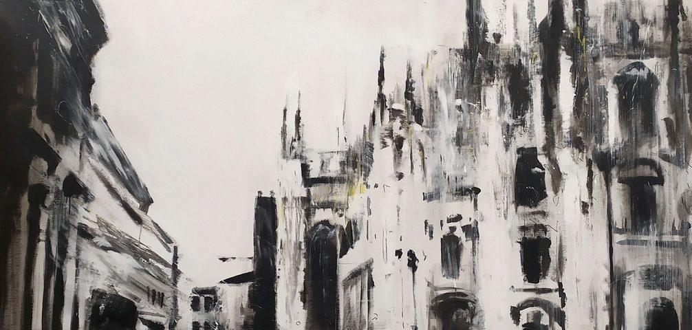2020-Piazza-Duomo-200x200cm-idropittura-e-smalto-su-tela