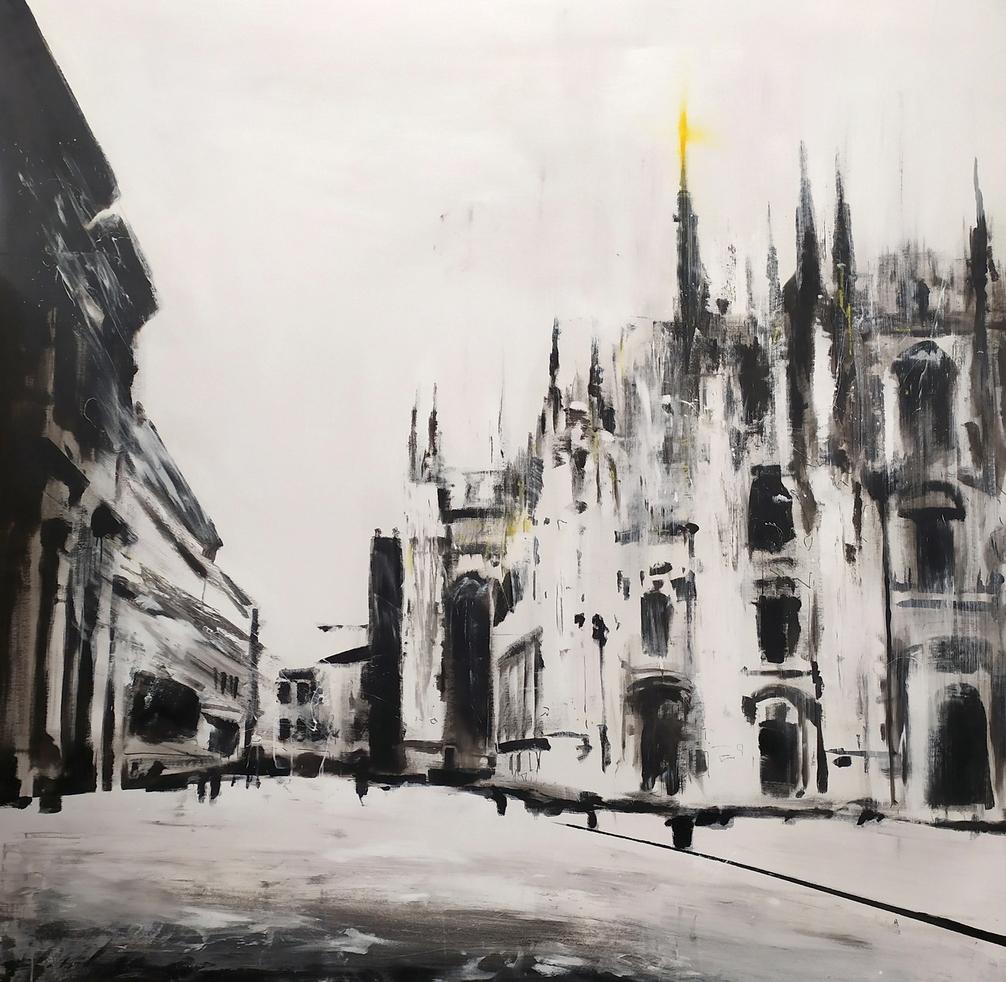 2020 Piazza Duomo 180x180cm idropittura e smalto su tela