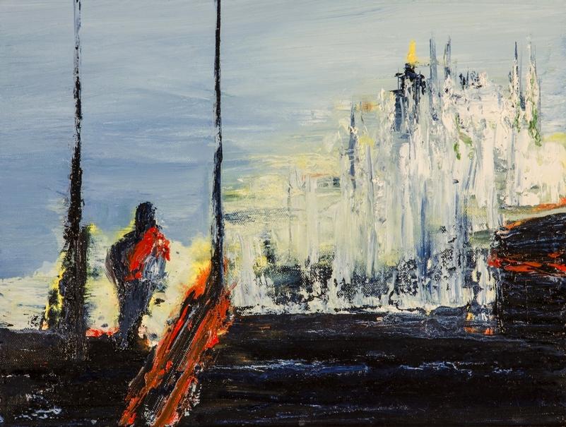 2017 Metro Duomo 35x50cm olio su tela