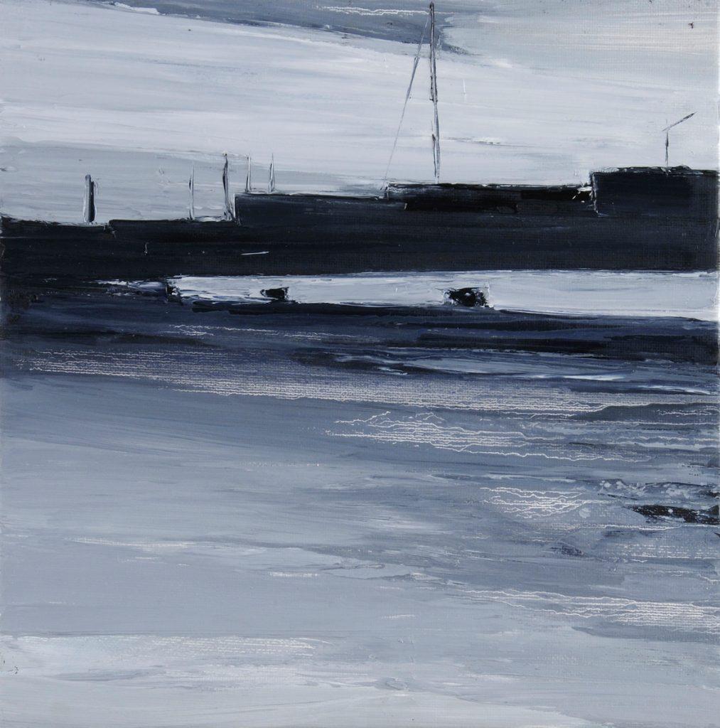 2009 darsena - wet dock 50x50cm olio su tela