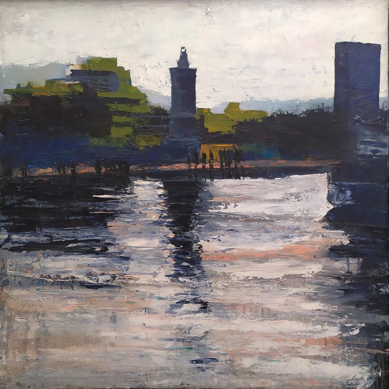 2007 Porto Canale 100x100cm olio su tela