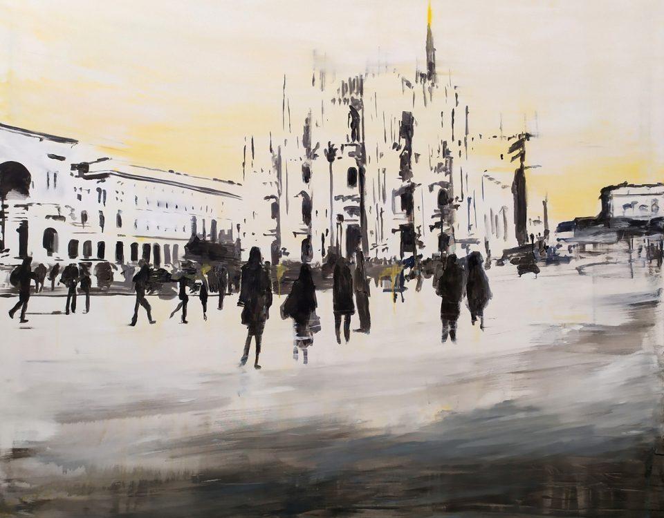 2020 Piazza Duomo 150x180cm tecnica mista su tela