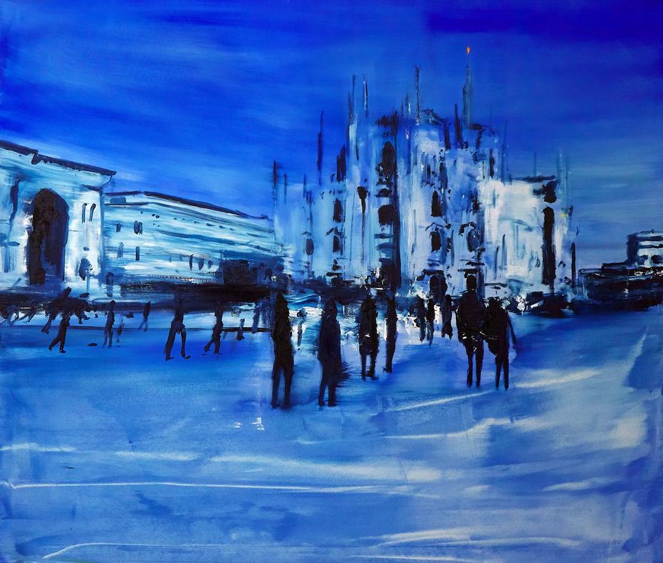2020 Piazza Duomo 100x120cm olio su tela