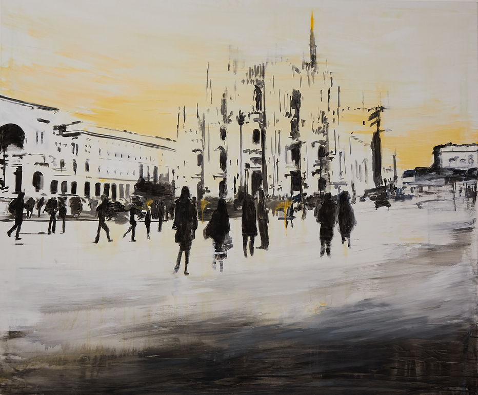 2020 Piazza Duomo 150x180cm tecnica mista su tela hd