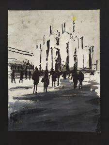 2020 Piazza Duomo 32x24cm tecnica mista su carta