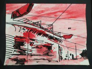 2020 San Siro Rosso 24x32cm tecnica mista su carta