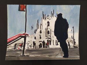 2020 Uscita Metro Duomo 24x32cm tecnica mista su carta