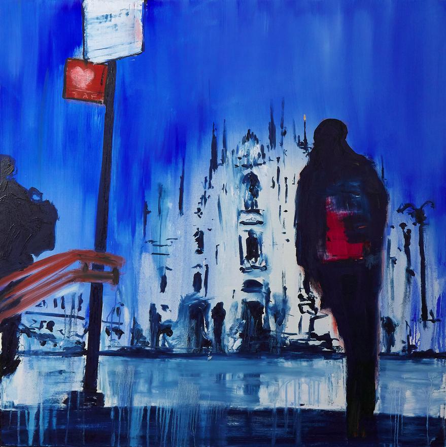 2020 Uscita metro Duomo 100x100cm olio su tela