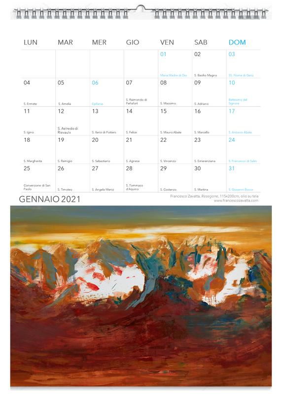 GENNAIO 2021 calendario Francesco Zavatta