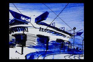 2021 San Siro blu 24x32cm tecnica mista su carta 1