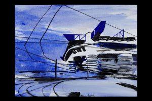 2021 San Siro blu 24x32cm tecnica mista su carta 8