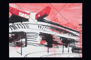 2021 San Siro rosso 24x32cm tecnica mista su carta 10