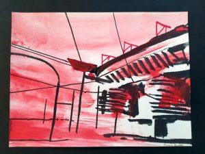 2020 San Siro rosso 24x32cm tecnica mista su carta 2