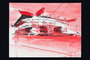 2021 San Siro rosso 24x32cm tecnica mista su carta 3