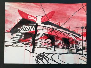 2020 San Siro rosso 24x32cm tecnica mista su carta 4