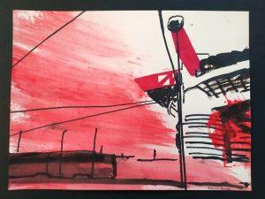 2021 San Siro rosso 24x32cm tecnica mista su carta 6
